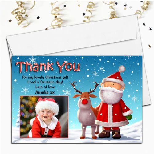 10 Personalised Christmas  Thank you PHOTO Post Cards Santa  & Snowman N61
